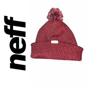 Neff Red & Silver Winter Hat
